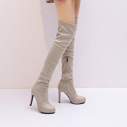 Side Suede Autumn the Long Stiletto Women's Boots Over AIYOUMEI Solid Zipper apricot Winter Stretch Knee Boots wpEUq