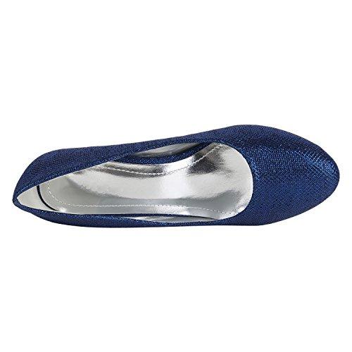 Stiefelparadies Klassische Damen Pumps Stilettos Abendschuhe Leder-Optik Glitzer Metallic Lack Schleifen Tanzschuhe Brautschuhe Flandell Blau Metallic