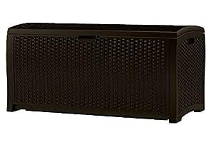 Rattan Patio Storage Deck Box Rectangular Brown Plastic Big Large Lawn Garden Backyard Weatherproof Resistant & eBook by Easy&FunDeals