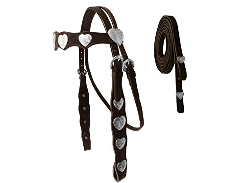Tahoe Silver Hearts Concho Show Headstall & Reins