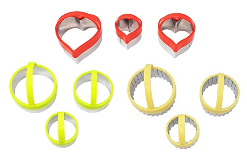 9 X ROUND HEART FLUTED COOKIE BISCUIT PASTRY METAL CUTTERS RESTAURANT CAFE HOTEL QUALITY