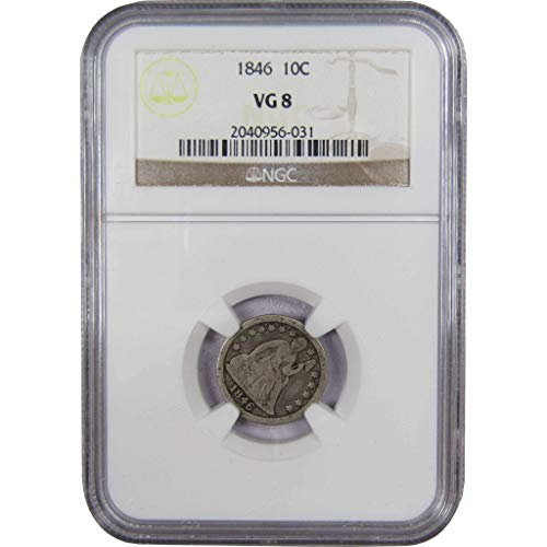 1846 10c Liberty Seated Silver Dime VG-8 NGC