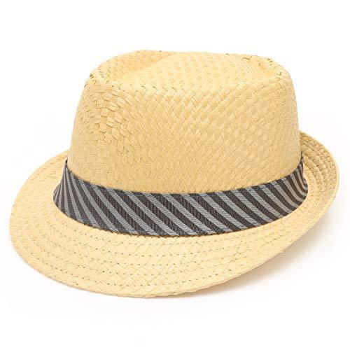 MIRMARU Men's Summer Lightweight Paper Straw Short Brim Trilby Fedora Hat with Band (4686-SM)