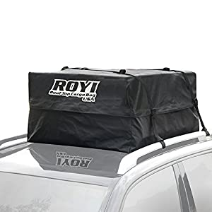 ROYI 100 % Waterproof Roof Cargo Bag Heavy-Duty Top Carrier Storage Box for Travel and Luggage Transportation | 3-Year Warranty | Fit for the Outdoor Elements(15 Cubic Feet)