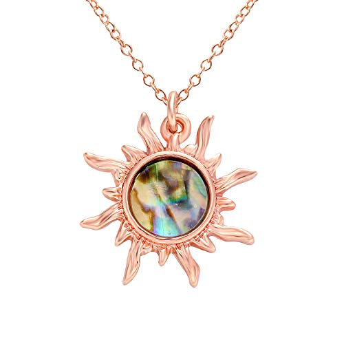 MANZHEN Gold Tone Fashion Sun Sunflower Pendant Natural Abalone Shell Charm Necklace for Women (Rose Gold)