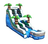 15-Foot Tall, 27-Foot Long Tropical Marble Inflatable Water Slide, Wet or Dry, Commercial Grade, 1.5 HP Blower and Stakes Included...