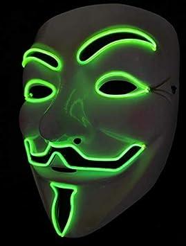 SOUTHSKY Nueva V Vendetta Mascara con la Moda Brillante, Fluorescente luz Verde para la Fiesta