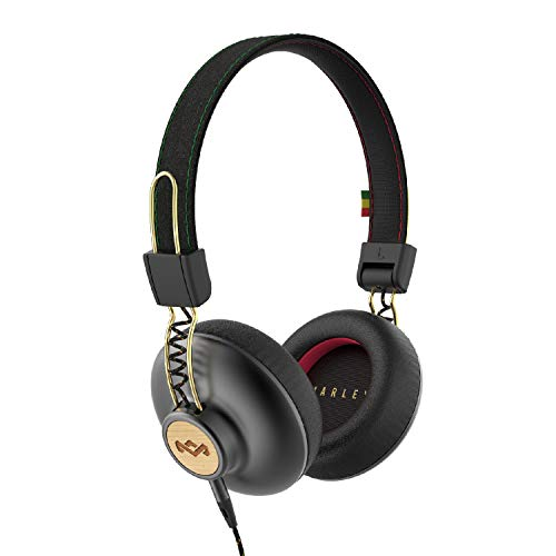 House of Marley, Positive Vibration 2 On-Ear Headphones Comfortable Fit, Foldable Design, Premium Sound, Single Sided Tangle-free Braided Cable Rasta