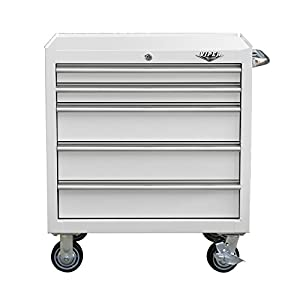 "Viper Tool Storage V3005WHR 30"" 5-Drawer Steel Rolling Cabinet, Premium Series, White"
