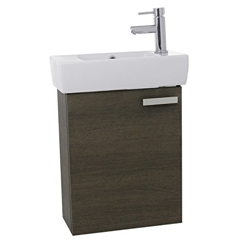 ACF C139 Cubical Wall Mount Bathroom Vanity with Fitted Ceramic Sink, 19