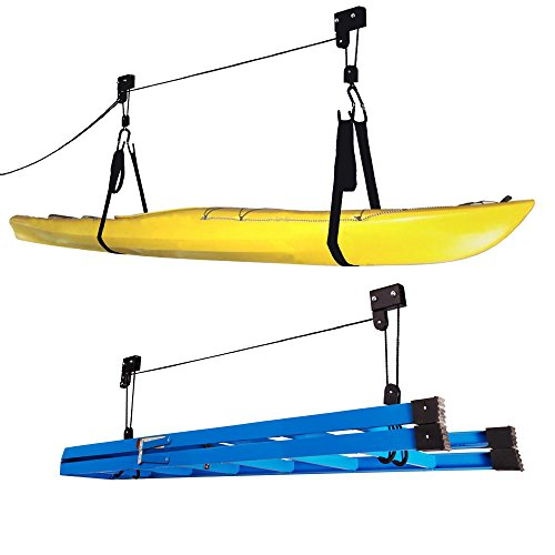 1004 Kayak Hoist Lift Garage Storage Canoe Hoists 125 lb Capacity - Two 2 Pack (Kayak Board System)