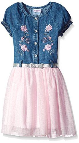 - Nannette Girls' Toddler Short Sleeve Denim Dress with Tulle, Pink, 2T