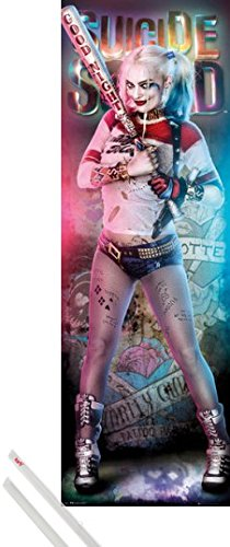 1art1 Poster + Hanger: Suicide Squad Door Poster (62x21 inches) Harley Quinn Good Night and 1 Set of Transparent Poster Hangers