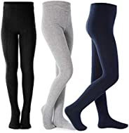 Toddler Girls Seamless Cotton Tights Soft Warm Solid 3 Pack