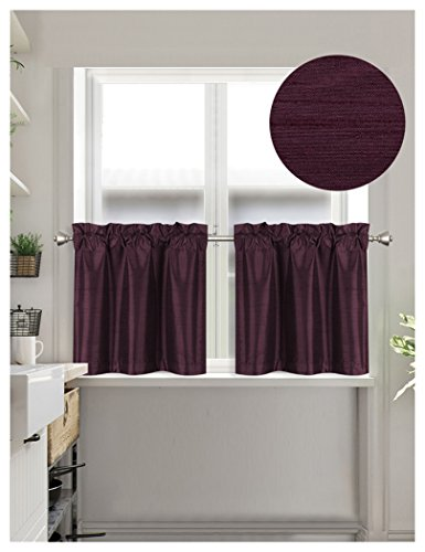 Home Queen Faux Silk Rod Pocket Tier Curtains for Small Window, Short Room Darkening Kitchen Curtains, Café Drapes, 2 Panels, 30 W X 24 L Inch Each, Solid Plum Purple