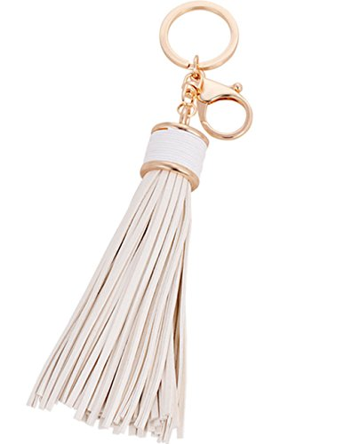 (ZOONAI Women Leather Tassels Keychain Car Circle Key Rings Gift Bag Hanging Buckle (White))