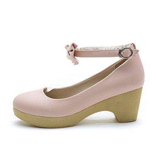 Allhqfashion Womens Kitten Hakken Zacht Materiaal Stevige Gesp Ronde Gesloten Teen Pumps-schoenen Roze