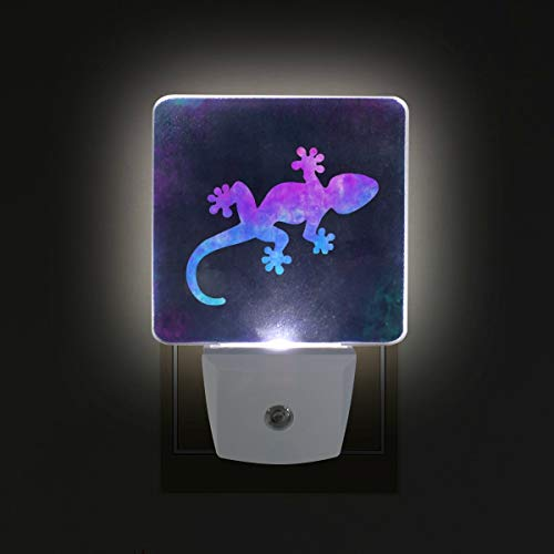 Gecko Amphibian Pastel LED Night Lights with Auto Dusk to Dawn Sensor, Plug-in Warm White Wall Lights for Kids Room