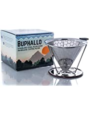 Buphallo Stainless Steel Pour Over Cone Coffee Dripper – Reusable Permanent Paperless Filter with Removable Stand