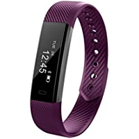 ID115 Smart Bracelet Wireless Bluetooth Tracker, MeiLiio Sleep Quality Step Calorie Counter Pedometer with Ultra Slim Replacement Band Wrist Watch for Women Kids,Apple iOS&Android Smart Phones,Purple