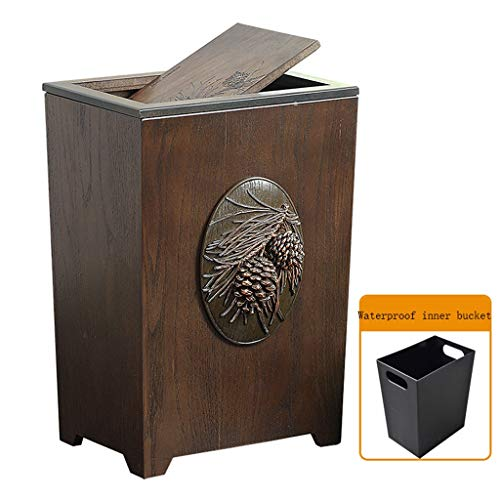 (Queen Boutiques American Wooden Creative Home Living Room Large with Lid Trash Can Office Bedroom Kitchen Dining Room Paper Basket (Color : Shake Cover))