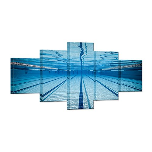 Hello Artwork - Large 5 Piece Canvas Wall Art Blue Water Swimming Pool Modern Natatorium Sport Gym Stretched And Framed Home Decor Wall Art for Living Room Decor by Hello Artwork
