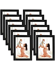 CRUGLA 4x6 Magnetic Black Picture Frames Modified Self Adhesive Collage Photo Frame Set for Refrigerator Glass Window Door Cubicle Tile Wall, 12 Packs