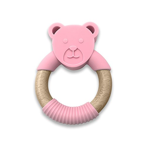 Pink Natural Wood - ANPEI ChewChew Buds Organic & Natural Wood and Silicon Teethers - Bear (Pink)
