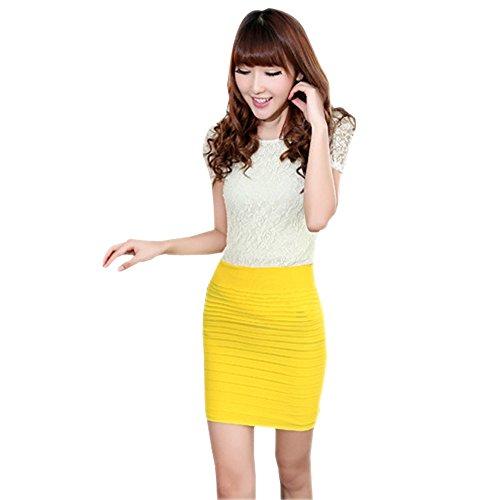 BOZEVON Femmes Jupe Crayon Coton Taille Elastique Couleur Unie Bande Jupe Jaune
