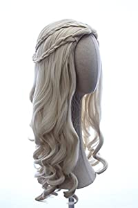 Weave Wigs- Daenerys Wig Inspired by Game of Throne Cosplay Long Curly Braided Wig Platinum Blonde Wig for Women