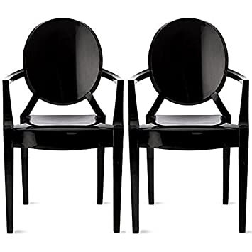 2xhome U2013 Set Of Two (2)   Black   Modern Ghost Chair Armchair With