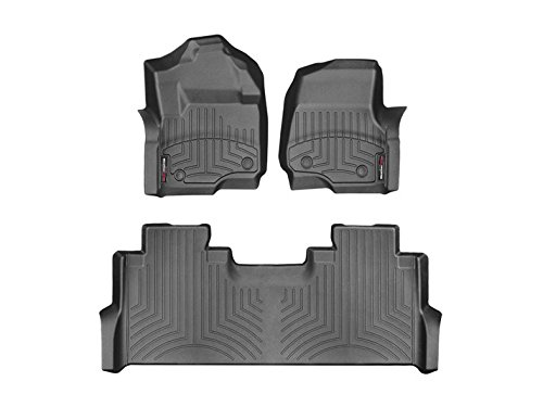 Weathertech Digitalfit 441012 1 2   First And Second Row All Weather Floor Liners For 2017 Ford F 250 F 350 F 450 F 550 Supercrew  Black
