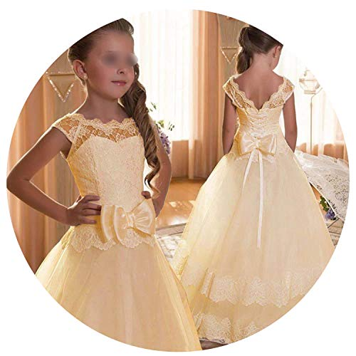 Kids Bridesmaid Flower Girls Dresses for Party and Wedding Dress Girls Easter Children Pageant Gown Girls Princess Dress,Champagne,10