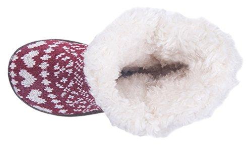 Mixin Femmes Antidérapant Tricoté En Laine Rayé Faux Polaire Doublé Intérieur Pantoufles En Plein Air Coeur Rose Rouge