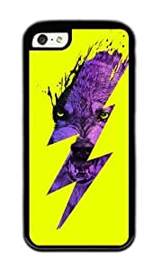Apple Iphone 5C Case,WENJORS Cool Thunderwolf Soft Case Protective Shell Cell Phone Cover For Apple Iphone 5C - TPU Black