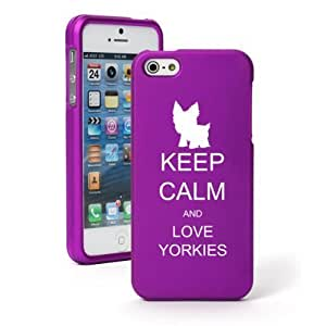 "Apple iPhone 6 Plus (5.5"") Snap On 2 Piece Rubber Hard Case Cover Keep Calm and Love Yorkies (Purple)"