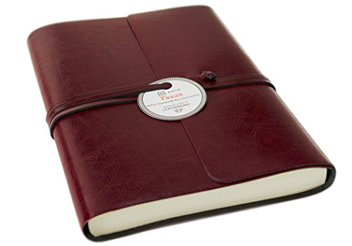 Tuscan Large Burgundy Handmade Recycled Leather Wrap Journal, Lined Pages (21cm x 15cm x 2cm)