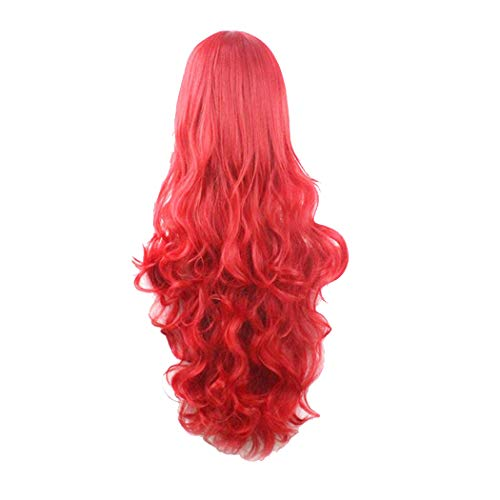 Womens Long Curly Wavy Wig, Halloween Cosplay Party Synthetic Wig Heat Resistant Full Hair Wig (A)
