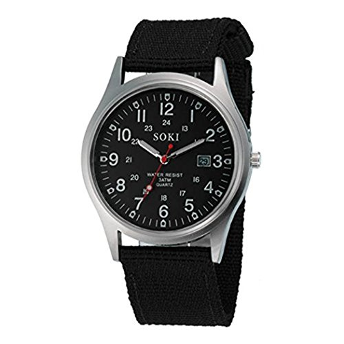 BESSKY Men's Military Army Date Canvas Band Stainless Steel Sport Quartz Wrist Watch (one Size, Black)