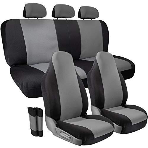 Motorup America Full Set Leather Auto Seat Cover - Fits Select Vehicles Car Truck Van SUV - Gray/Black