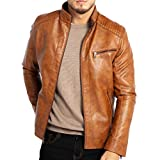 Best Leather Jacket Men - WULFUL Men's Stand Collar Leather Jacket Motorcyle Lightweight Review
