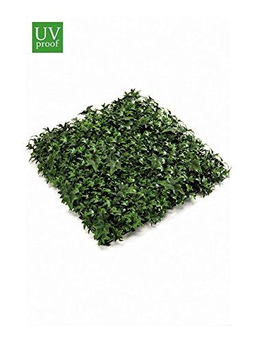 artplants Künstliche Efeu Matte Anka auf Kunststoffgitter, grün, 50 x 50 cm, wetterfest - Heckenelement/Plastik Sichtschutz