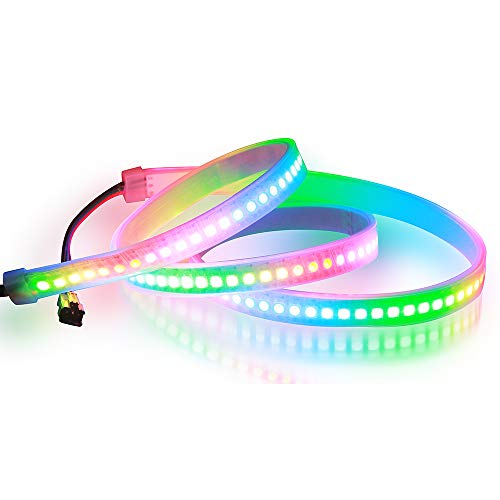WS2812B 144 Pixels RGB LED Strip Individually Addressable 3.3ft 5V, Aclorol WS2812B WS2812 1M 144 LEDs Programmable Dream Color Strip Lighting IP67 Waterproof White PCB