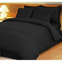 1200 Thread Count Four (4) Piece Queen Size Black Stripe Bed Sheet Set, 100% Egyptian Cotton, Premium Hotel Quality