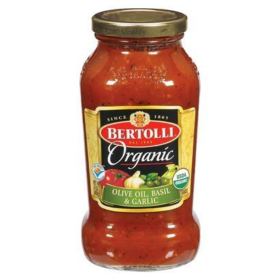 Bertolli Organic Sauce - Olive Oil, Basil, & Garlic - 24 Oz. Glass Jar (Pack of 3)