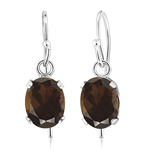 1.50 Ct Oval Brown Smoky Quartz 925 Sterling Silver Earrings (Jewelry Smoky Quartz Silver Box)