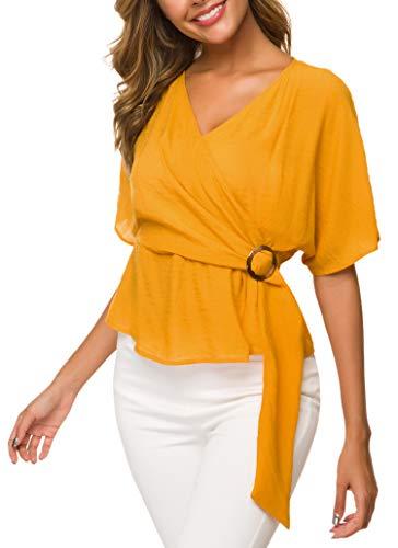 ACONIYAWomens Tie Knot Casual Belted Blouse Elegant Long/Short Sleeve Shirt Work Tunic Tops (C-Yellow 2, S) ()