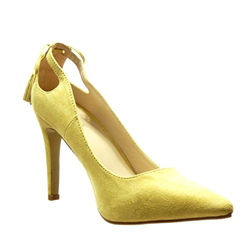 Angkorly - damen Schuhe Pumpe - Stiletto - Sexy - Bommel - Franse Stiletto high heel 10 CM - Gelb