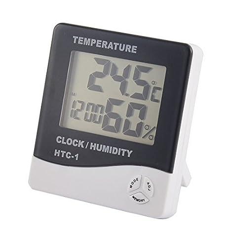 Amazon.com: eDealMax Interior del despertador del LCD Digital Tiempo Temperatura Humedad Medidor termómetro higrómetro: Home & Kitchen