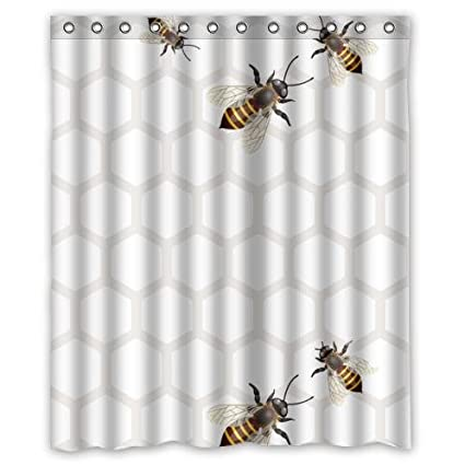 Special Bee Honeycomb Pattern Waterproof Bathroom DecorPolyester Fabric Shower Curtains With Five Bees